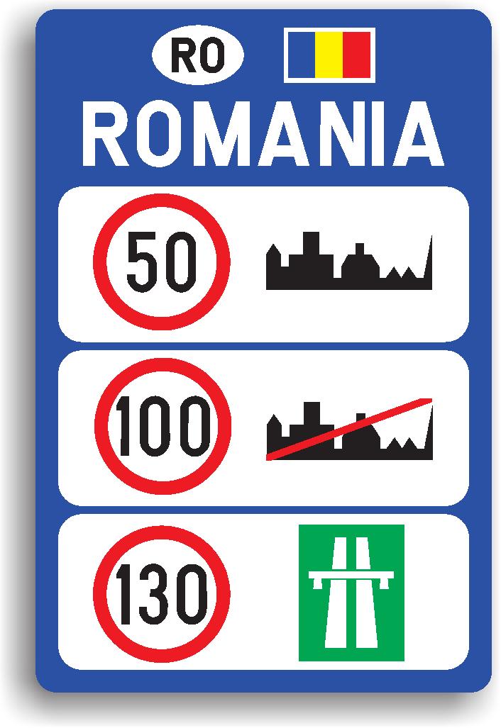 Se instaleaza dupa trecerea frontierei unui stat. Are rolul de a informa conducatorul de vehicul care sunt limitele generale de viteza aplicabile diferitelor categorii de drumuri.