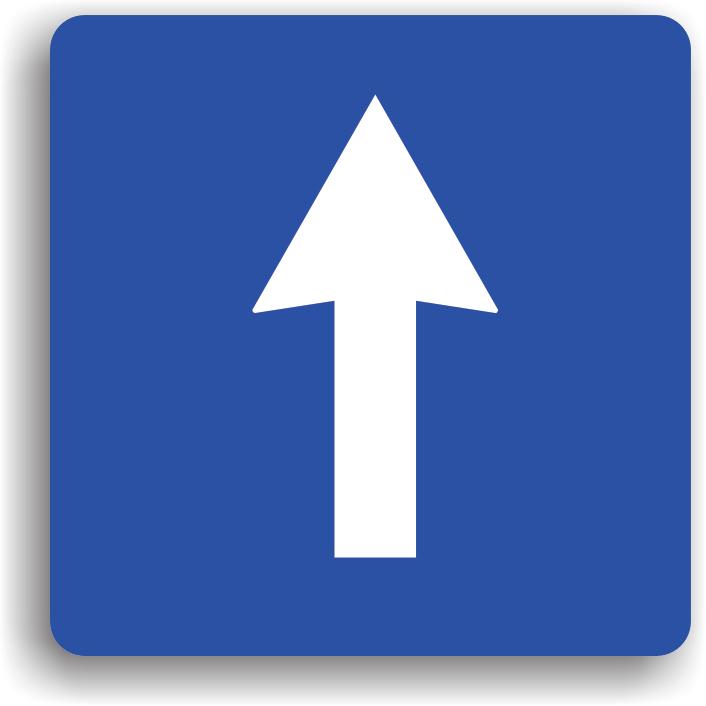 """Se monteaza la intrarea pe drumurile cu sens unic. Terminarea sectorului cu sens unic se semnalizeaza cu indicatorul """"Circulatia in ambele sensuri"""". Pe drumul cu sens unic este interzisa manevra de intoarcere. Depasirea se poate face si pe partea stanga; se poate opri sau stationa si pe stanga; este permis mersul inapoi cel mult 50 m; este permis virajul stanga sau dreapta; virajul la stanga presupune incadrarea pe banda de langa bordura din stanga."""
