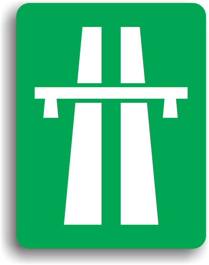 Conducatorul auto va intalni acest indicator la intrarea pe autostrada. La intalnirea acestui indicator conducatorii auto sunt obligati sa circule cu cel putin 50 km/h. Pe autostrada sunt interzise mersul inapoi, oprirea, stationarea, intoarcerea precum si circulatia sau imobilizarea voluntara pe banda de urgenta.