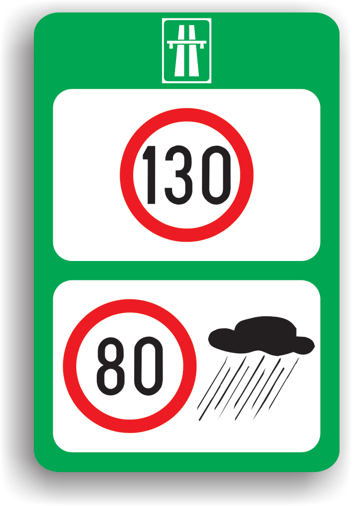 Se afla instalat pe autostrada pentru a impune conducatorilor auto sa circule cu limite diferite de viteza, in functie de conditiile meteorologice.