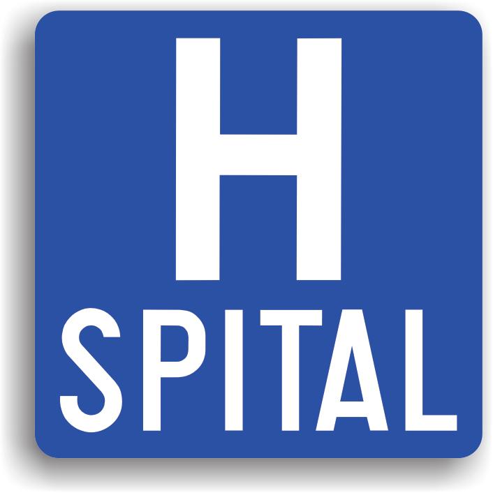 Este montat in apropierea spitalelor pentru informarea conducatorilor auto in legatura cu existenta unei unitati medicale. Poate fi insotit de un panou aditional pe care este inscriptionata distanta pana la spital.
