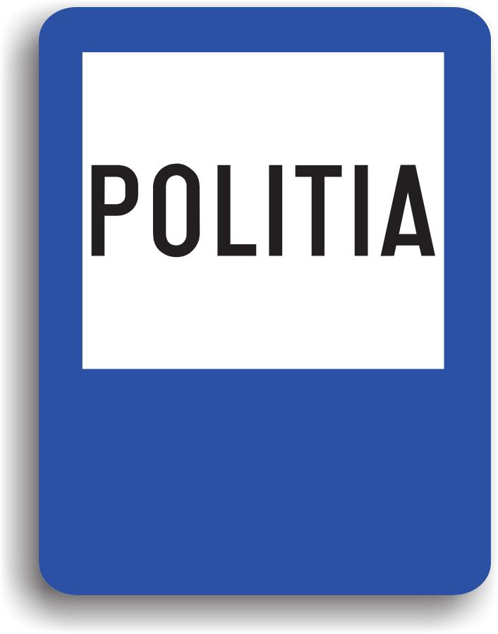 Se amplaseaza in apropierea unui post de politie la care se pot declara accidentele de circulatie, precum si existenta obstacolelor intalnite pe drumul public. Pe indicator poate fi inscrisa si distanta pana la sediu.