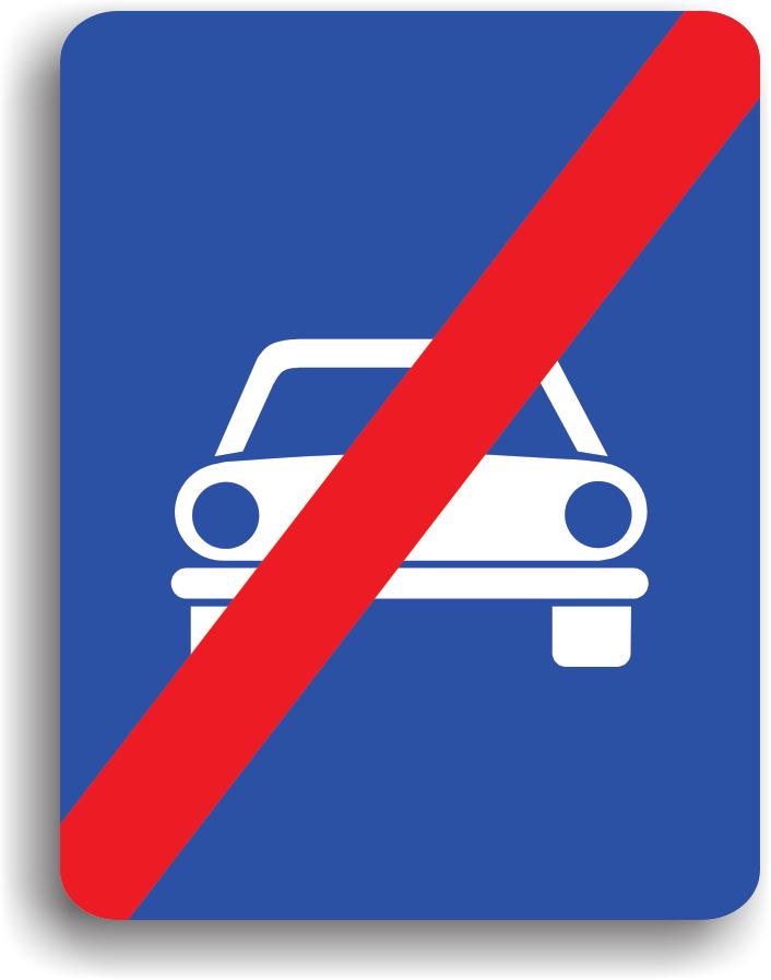 Conducatorul auto va intalni acest indicator la iesirea de pe drumurile pe care este permisa doar circulatia autovehiculelor.