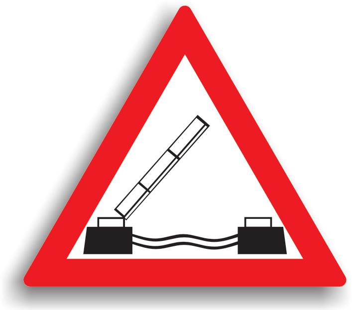 Se amplaseaza la 100-200 m de podul mobil. Daca podul este ridicat, oprirea este obligatorie. Pe pod, sunt interzise toate manevrele (depasirea cu exceptia motocicletelor fara atas, vehiculelor fara motor si ciclomotoarelor, cand vizibilitatea este peste 20 m. iar latimea drumului mai mare de 7 m., oprirea, stationarea, mersul inapoi, intoarcerea).