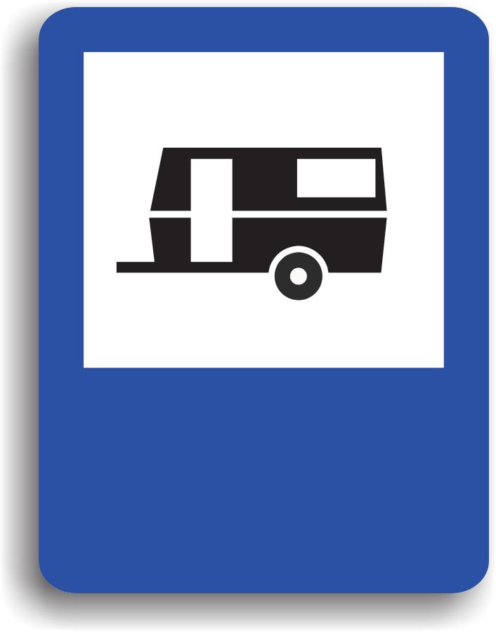 Acest indicator poate fi intalnit in apropierea unui teren special amenajat pentru stationarea autovehiculelor si rulotelor.