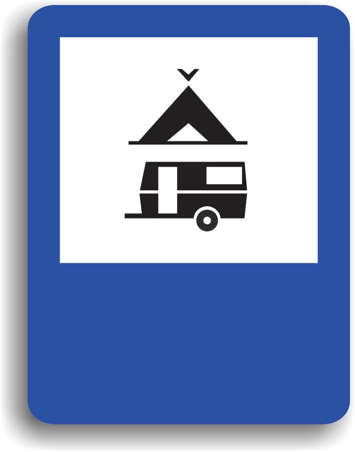 Conducatorul auto va intalni acest indicator in apropierea unui teren special amenajat pentru stationarea autovehiculelor si rulotelor si pentru camping.
