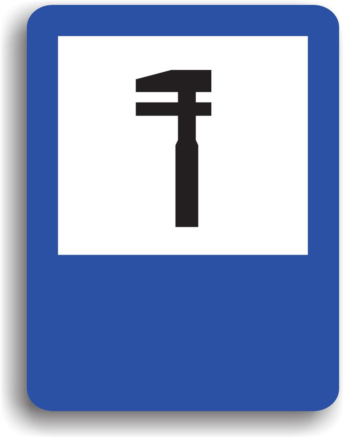 Conducatorul auto poate intalni acest indicator in apropierea unui service auto. Pe indicator poate fi inscris si programul de functionare.