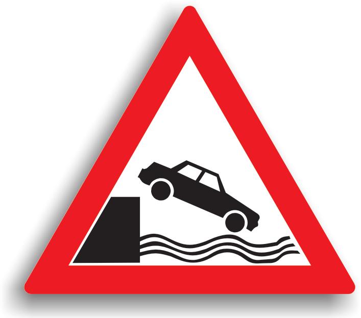 Se amplaseaza la 100-200 m de chei sau mal abrupt pentru a atentiona conducatorul auto ca, pe directia inainte, drumul se termina deasupra cheiului sau malului abrupt.