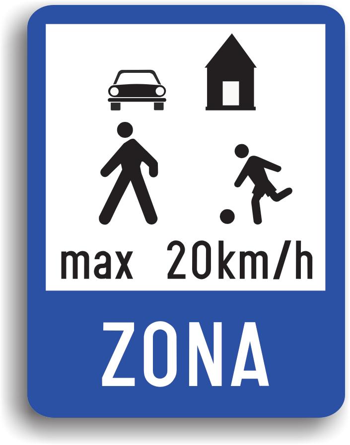 Se monteaza la intrarea in zonele rezidentiale. Sunt zone cu trafic mixt, atat pietonal cat si auto, ceea ce ii obliga pe conducatorii auto sa circule cu viteza de cel mult 20 km/h.