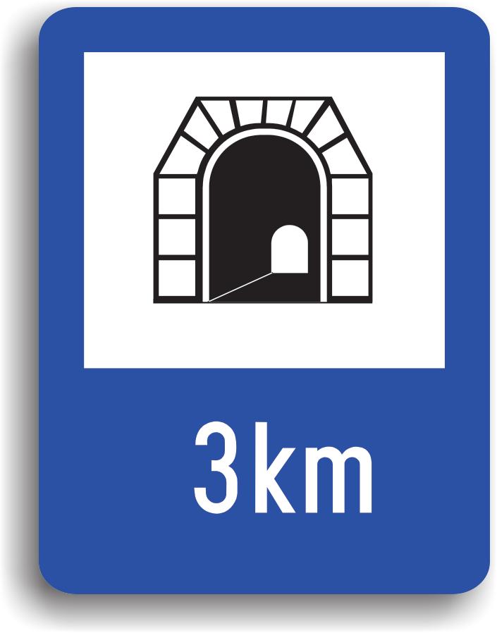Se monteaza la intrarea intr-un tunel. Pe indicator poate fi inscrisa si lungimea tunelului. Se aprind obligatoriu luminile de intalnire. Toate manevrele sunt interzise cu exceptia depasirii vehiculelor fara motor, motocicletelor fara atas si mopedelor, cand vizibilitatea este peste 20 m si latimea drumului cel putin 7 m.