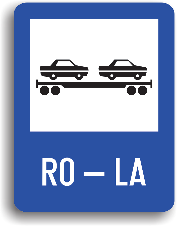 Conducatorul auto va intalni acest indicator in zona de imbarcare pe vagoane platforma de cale ferata. La intalnirea acestui indicator conducatorul auto trebuie preventiv sa reduca viteza si sa circule cu atentie sporita.