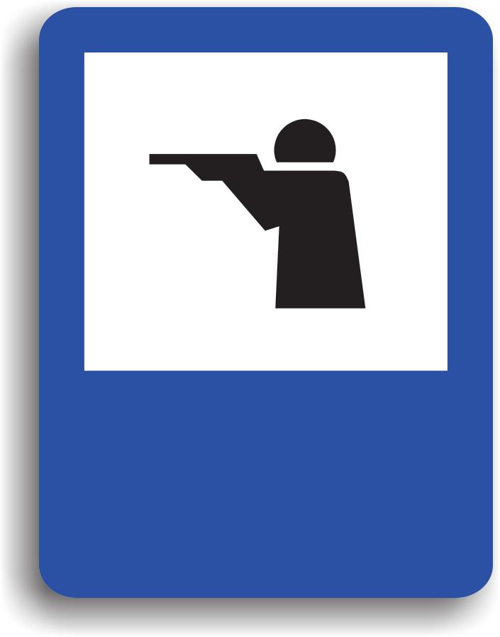 Se monteaza in apropierea unei zone de vanatoare. Pe indicator poate fi si o sageata care indica directia spre acesta zona.