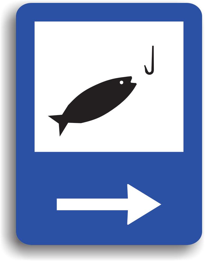 Se monteaza in apropierea unei zone de pescuit. Pe indicator poate fi si o sageata care indica directia spre acesta zona.