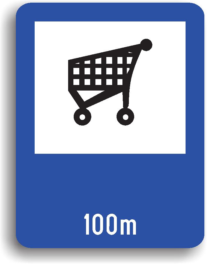 Se amplaseaza in apropierea unui supermarket. Pe indicator poate fi inscriptionata si distanta la care se afla.