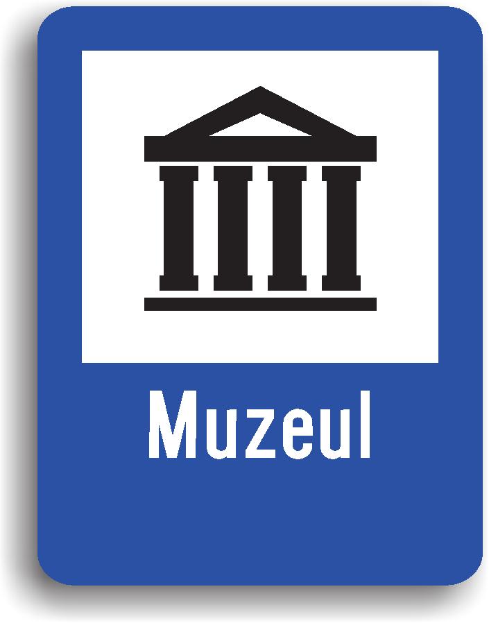 Indicatorul din imaginea alaturata se amplaseaza in apropierea unui muzeu. Pe indicator poate fi inscrisa si denumirea muzeului.