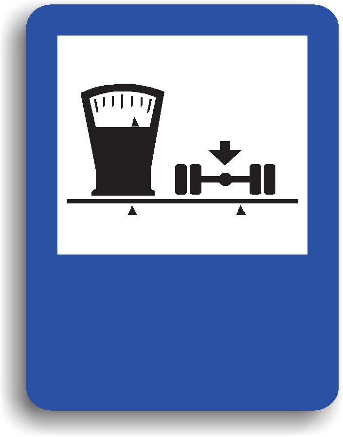 Se amplaseaza in apropierea unui cantar pentru autovehicule. Pe indicator poate fi inscriptionata si distanta la care se afla.