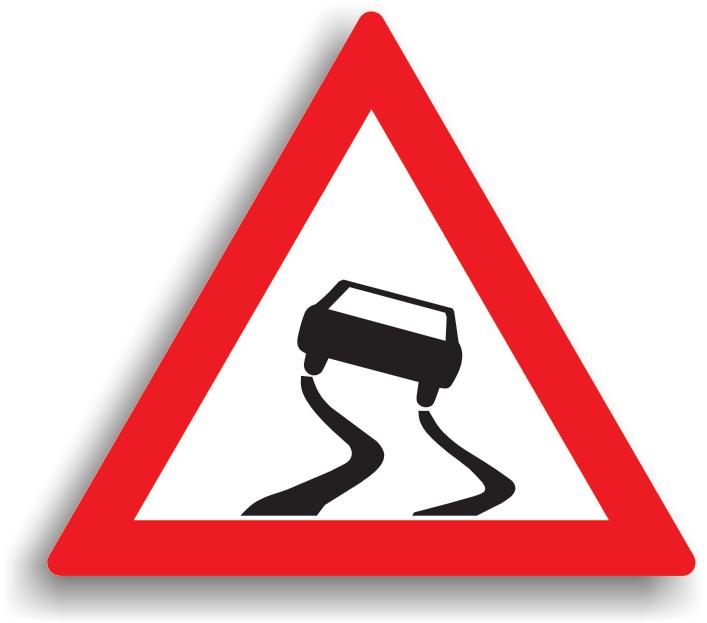 Se afla montat la 100-200 m de sectorul periculos. Conducatorului auto ii este recomandat sa reduca viteza, sa circule cu atentie sporita, sa nu bruscheze volanul si comenzile autovehiculului, si sa evite folosirea franelor. Daca drumul este acoperit cu polei, zapada batatorita, mazga sau piatra cubica umeda, conducatorul auto este obligat sa reduca viteza la max. 30 km/h in localitate si max. 50 km/h in afara localitatii.