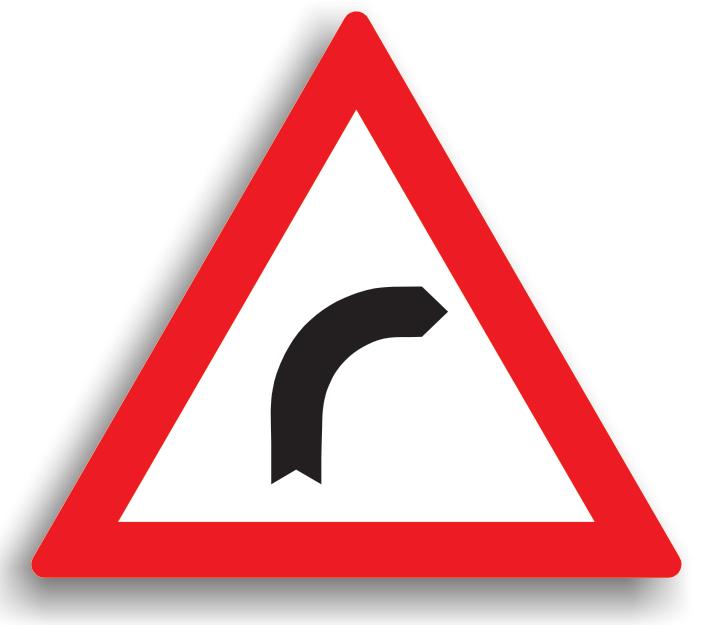 Este amplasat la cel mult 200 m de o curba la dreapta. Conducatorul trebuie sa circule cu viteza redusa in curbe, iar daca vizibilitatea este redusa sub 50 m., toate manevrele (depasirea, oprirea, stationarea, mersul inapoi, intoarcerea) sunt interzise. Este permisa depasirea in curbele cu vizibilitate.