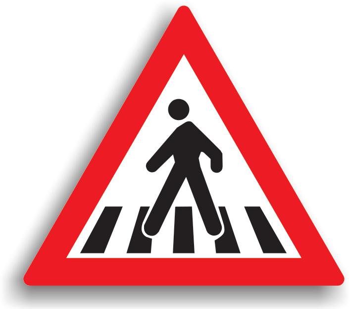 """Se instaleaza la 50-200 m de o trecere de pietoni, pe drumurile intens circulate, pe sectoarele de drum unde vizibilitatea este redusa sau in afara localitatilor. Conducatorului auto ii este recomandat preventiv sa reduca viteza si sa circule cu atentie sporita. Acest indicator nu se instaleaza cand locul amplasarii sale coincide cu locul amplasarii indicatorului """"Copii""""."""