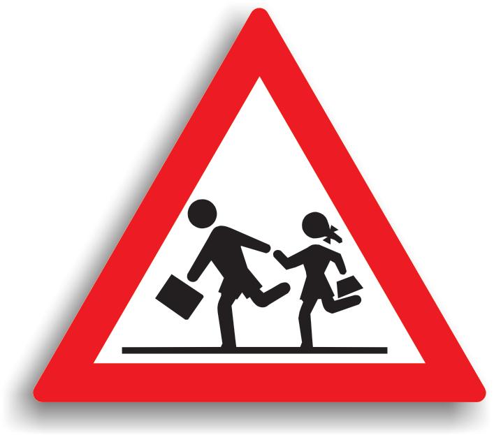 Conducatorii auto intalnesc acest indicator pe sectoarele de drum frecvent circulate de copii (aflate in imediata apropiere a gradinitelor, scolilor si a locurilor de joaca). Conducatorul este obligat sa reduca viteza sub 30 km/h in localitati, respectiv sub 50 km/k in afara localitatilor in intervalul orar 0700-2200 si sa circule cu atentie sporita. Pe drumurile cu circulatie in ambele sensuri prevazute cu o singura banda pe sens, pe distanta cuprinsa intre aceste indicatoare aferente celor doua sensuri, marcajul de separare a sensurilor este cu linie continua.