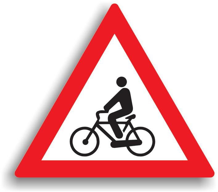 Se amplaseaza la 100-200 m de locul in care drumul public se intersecteaza cu o pista pentru biciclisti. La intalnirea acestui indicator, conducatorului auto ii este recomandat preventiv sa reduca viteza.