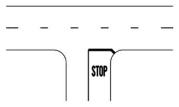 """inaintea marcajului ce insoteste indicatorul """"Oprire"""" se poate aplica pe partea carosabila inscriptia """"STOP"""". Se opreste fara a depasi linia transversala"""