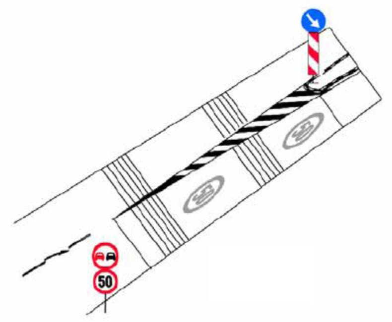 Pe autostrazi, pe drumurile expres si pe drumuri nationale deschise traficului international (E), la extremitatile partii carosabile, se aplica marcaje rezonatoare (la calcarea acestor benzi rotile fac zgomot), pentru avertizarea conducatorilor de autovehicule la iesirea de pe partea carosabila.