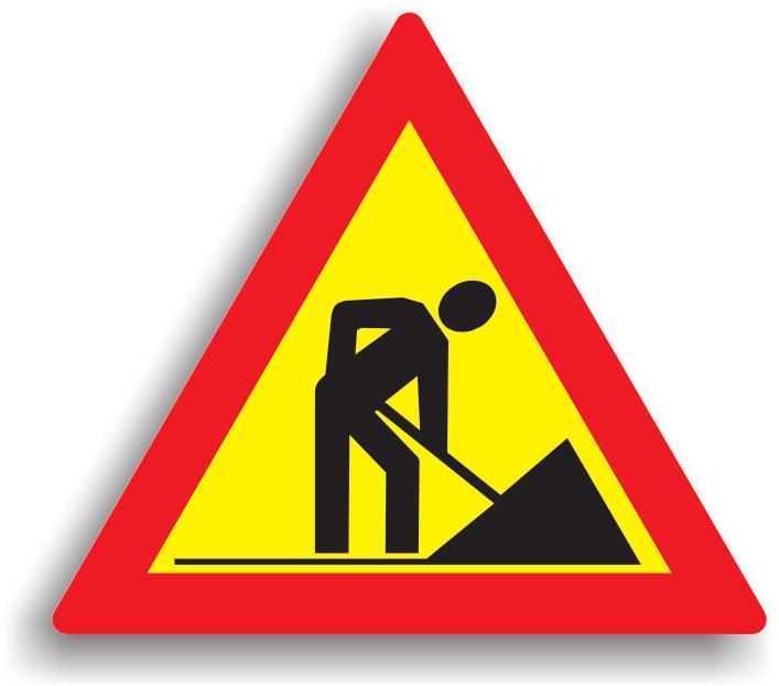 Se instaleaza la 20-200 m de sectorul de drum pe care se executa lucrari. Fondul de culoare galbena semnifica caracterul temporar al lucrarii. La intalnirea acestui indicator, conducatorului auto ii este recomandat preventiv sa reduca viteza.