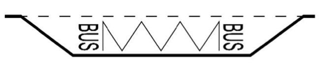 """Linia in zigzag completata cu inscrisul """"BUS"""" sau """"TaXI"""" poate fi folosita pentru semnalizarea statiilor de autobuze si troleibuze, respectiv taximetre."""
