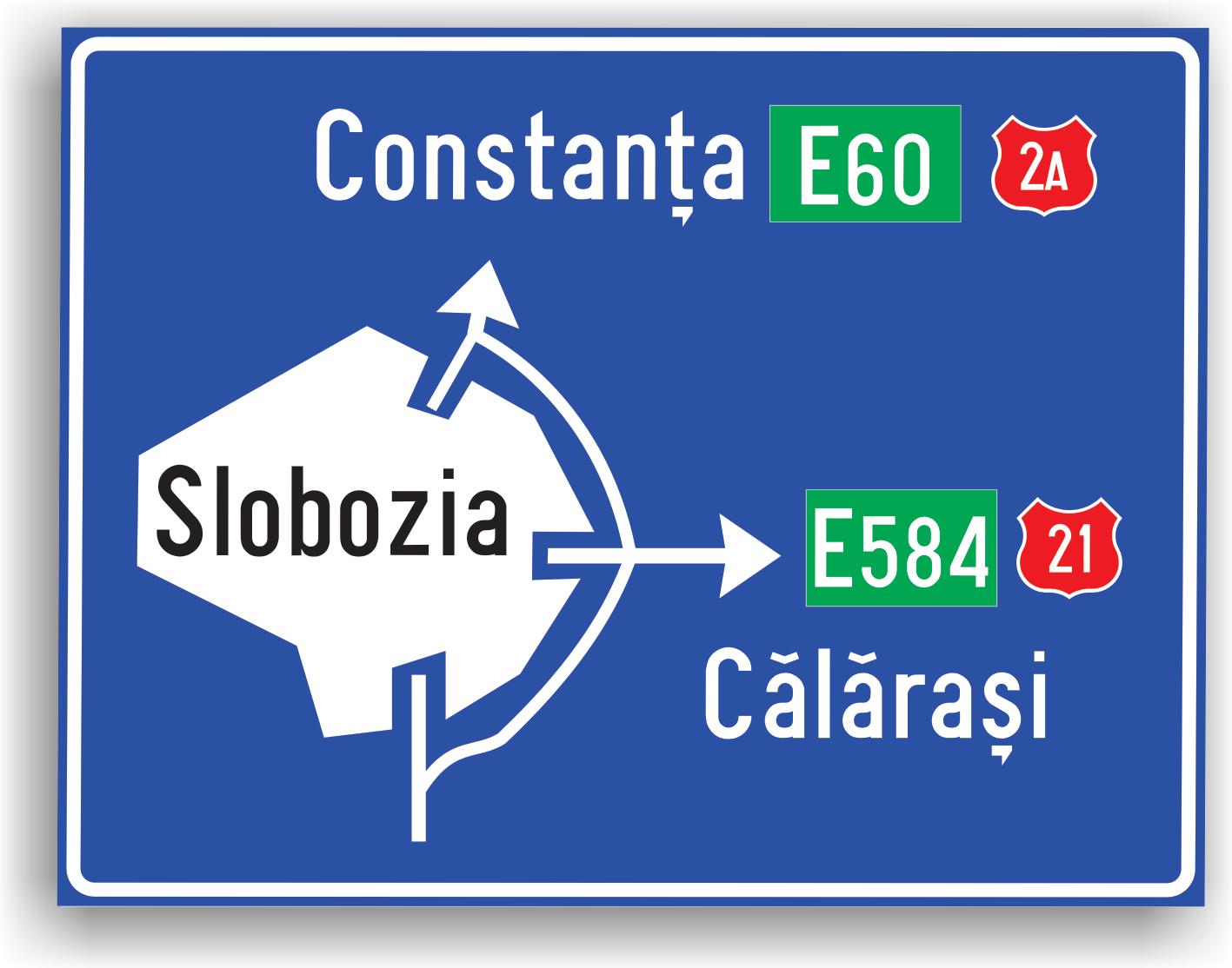 Conducatorul auto va intalni acest indicator la 100-200 m de intersectia cu drumul de ocolire a localitatii (indicatorul marcand tocmai ruta ce permite evitarea localitatii). Pe indicator mai pot fi scrise si alte trasee, spre alte localitati importante.