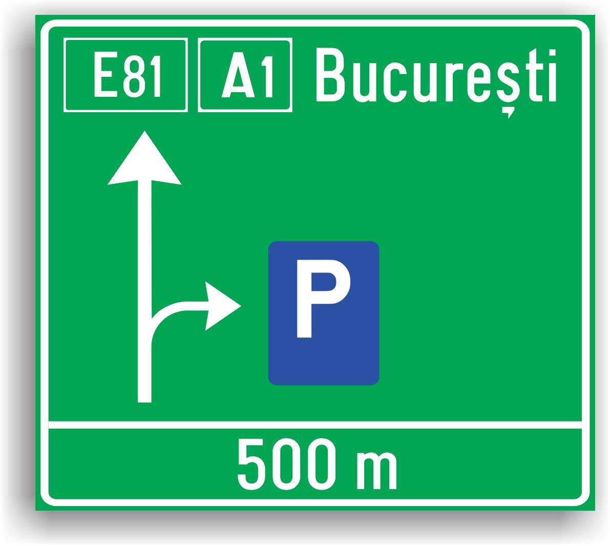 Indicatorul alaturat se monteaza pe o autostrada pentru a indica conducatorilor auto spatiile special amenajate unde pot parca.