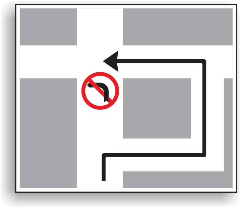 Indicatorul se aseaza inainte unei intersectii, care precede o alta intersectie in care virajul la stanga este interzis. Are rolul de a orienta conducatorul de vehicul asupra traseului pe care trebuie sa-l urmeze daca vrea sa vireze la stanga.