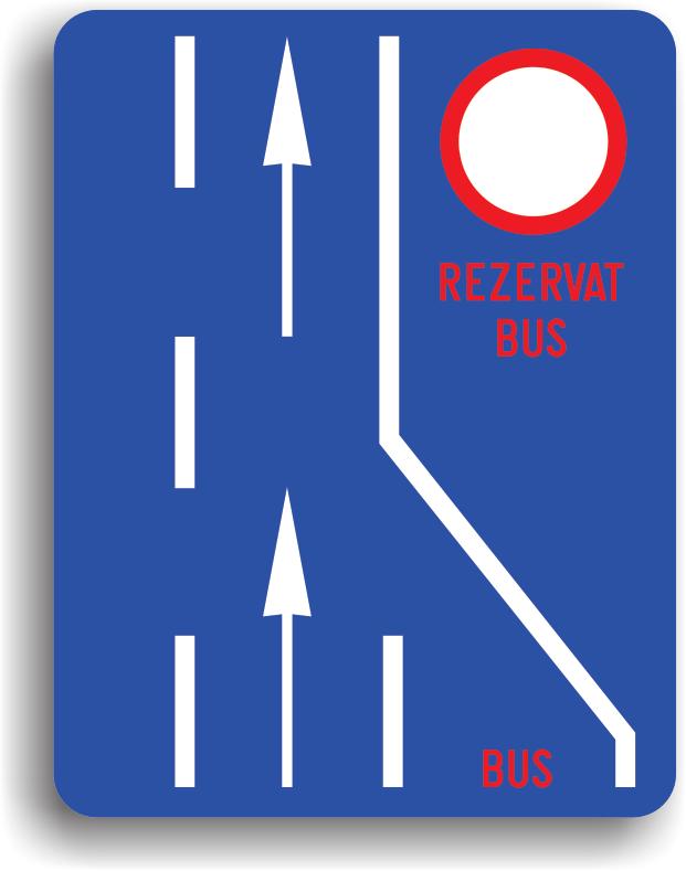 Indicatorul din imaginea alaturata se amplaseaza in orase, pe drumurile cu mai multe benzi, pentru a informa conducatorul auto ca una dintre benzi este rezervata circulatiei autovehiculelor de transport public de persoane. Zona de actiune a indicatorului se termina la prima intersectie.