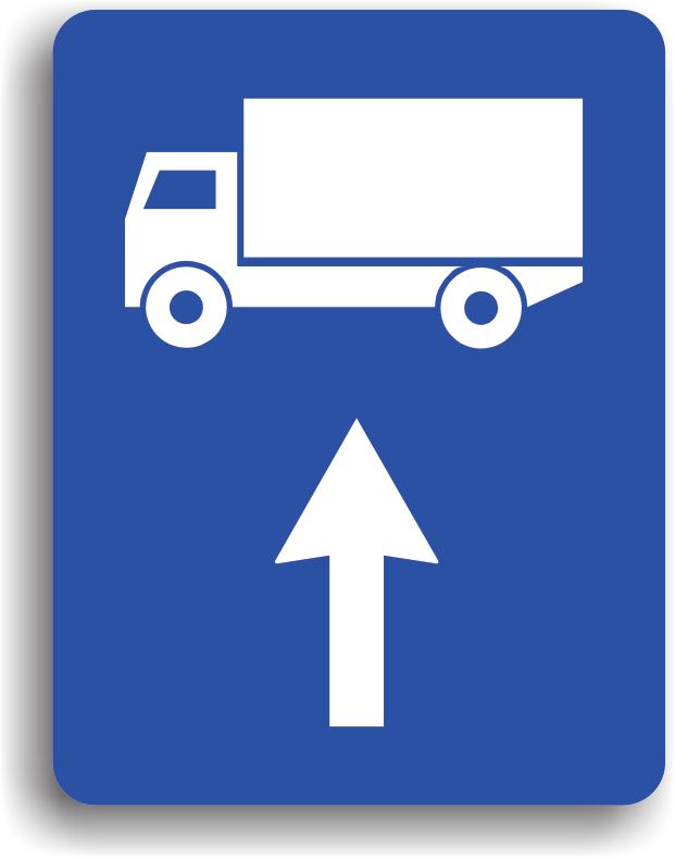 Se monteaza pe drumul public si are rolul de a-i orienta pe conducatorii fiecarei categorii de vehicule reprezentate pe indicator, asupra directiei pe care trebuie sa o urmeze: inainte.