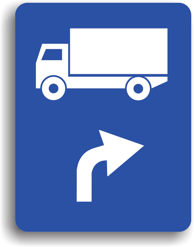 Se monteaza pe drumul public si are rolul de a-i orienta pe conducatorii fiecarei categorii de vehicule reprezentate pe indicator, asupra directiei pe care trebuie sa o urmeze: la dreapta.