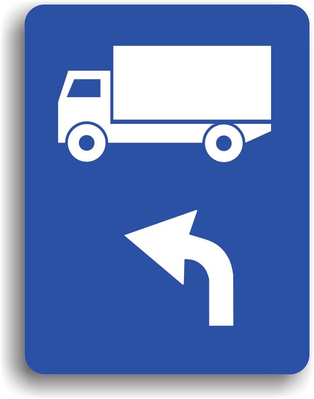 Se monteaza pe drumul public si are rolul de a-i orienta pe conducatorii fiecarei categorii de vehicule reprezentate pe indicator, asupra directiei pe care trebuie sa o urmeze: la stanga.