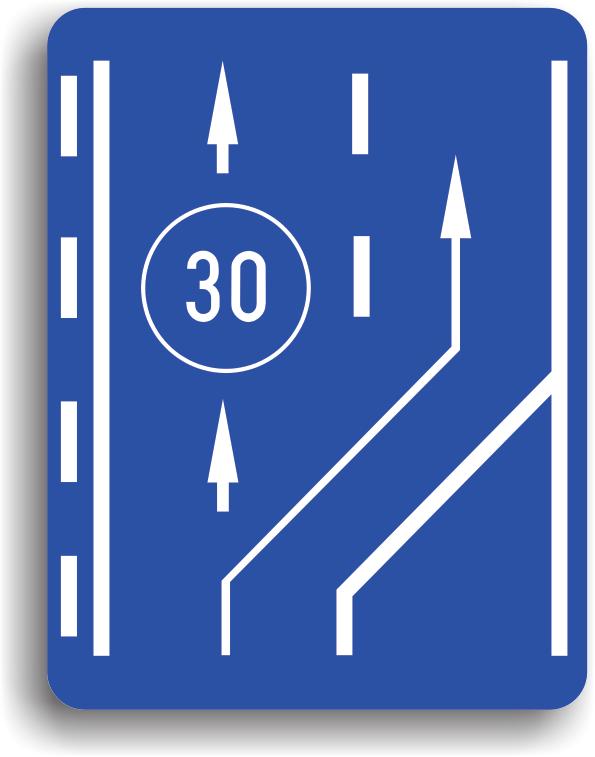 Este amplasat pe drumurile publice si are rolul de a orienta conducatorii auto asupra benzii pe care se deplaseaza vehiculele lente, cu viteze mai mici decat cea inscriptionata pe panou.