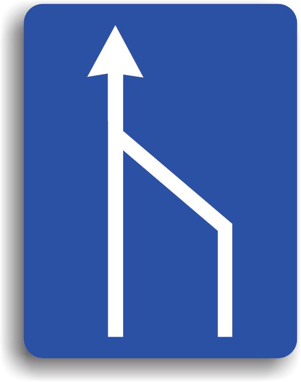 Indicatorul se monteaza pe drumurile publice avand rolul de a-i obliga pe conducatorii ce se deplaseaza pe o banda care se termina sa acorde prioritate vehiculelor care circula pe banda pe care vor intra.