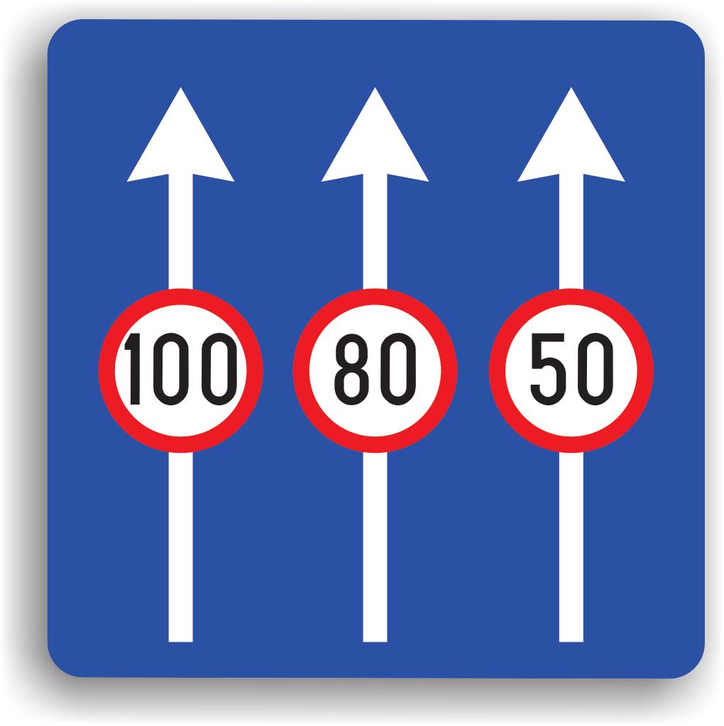 Se amplaseaza pe drumurile cu mai multe benzi pe acelasi sens de circulatie. Are rolul de a-i obliga pe conducatorii auto sa circule cu o viteza mai mica decat cea inscrisa pe indicator pentru banda respectiva.