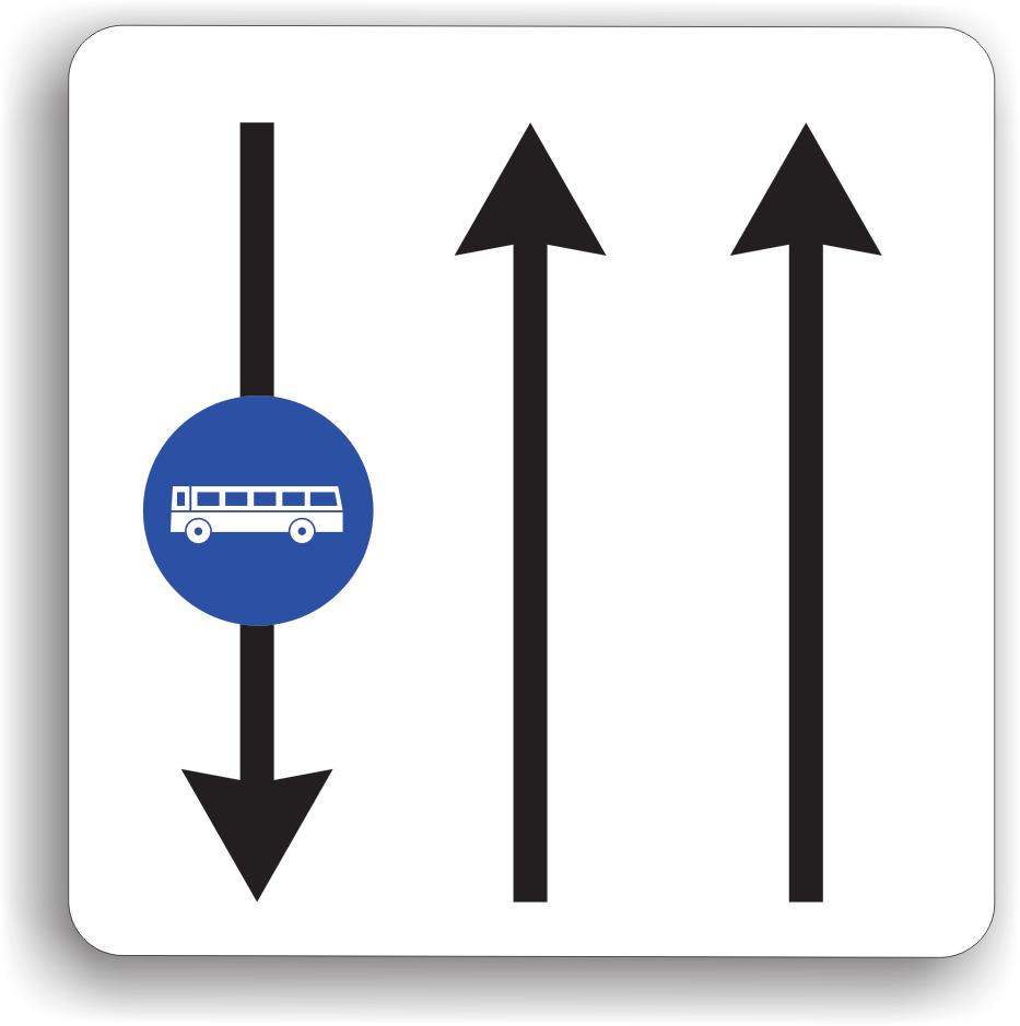 Acest indicator are rolul de a le interzice conducatorilor de vehicule sa circule pe benzile destinate exclusiv transportului public de persoane.