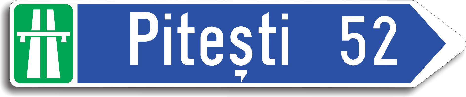 Se amplaseaza in intersectii pentru a informa conducatorii auto asupra directiei pe care trebuie sa o urmeze pentru a ajunge la localitatea inscriptionata pe indicator.