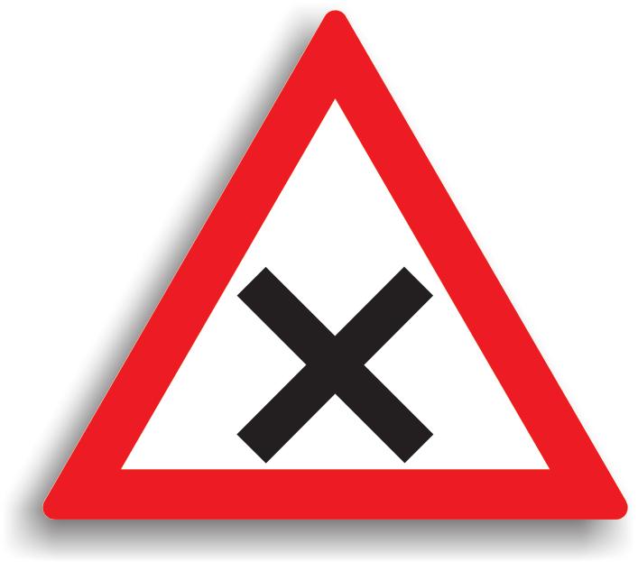 Este amplasat numai in afara localitatilor, la 50-200 m inaintea unei intersectii nedirijate de drumuri din aceeasi categorie. In aceasta intersectie se aplica regula prioritatii de dreapta iar conducatorul auto este obligat sa reduca viteza la max. 30 km/h in localitate, respectiv max. 50 km/h in afara localitatii.
