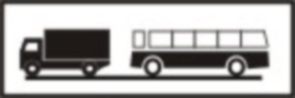 """Se amplaseaza impreuna cu indicatorul """"Prioritate pentru circulatia din sens invers"""". Precizeaza categoriile de vehicule care nu pot circula in acelasi timp pe un drum ingustat."""