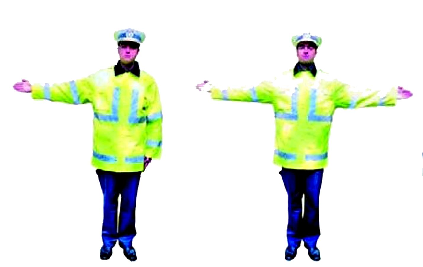 Semnifica oprire pentru cei care circula din directia (directiile)  intersectate de bratul  (bratele) intinse.   Dupa ce a dat acest semnal, politistul poate cobori bratele, aceasta insemnand oprire pentru cei din fata sau din spate.