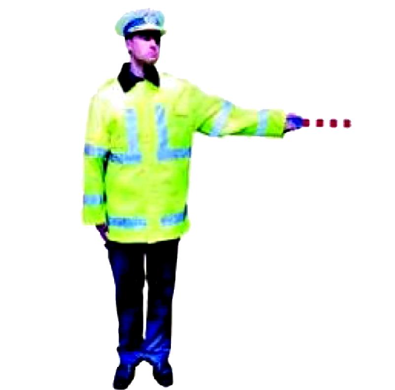 Balansarea cu bratul, pe verticala, a unui dispozitiv cu lumina rosie sau a bastonului reflectorizant noaptea semnifica oprire pentru cei spre care este indreptat dispozitivul.