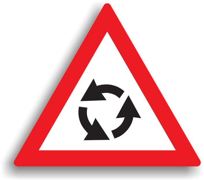 Se amplaseaza cu 50-200 m inaintea intersectiilor cu sens giratoriu. La intalnirea acestui indicator, conducatorul auto este obligat sa reduca viteza.
