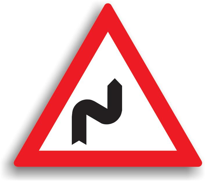 Se instaleaza atunci cand urmeaza o succesiune de curbe, daca distanta dintre acestea e mai mica de 250 m. Se amplaseaza la 100-200 m inaintea primei curbe. Aceste indicatoare pot fi insotite si de panouri aditionale, pe care este specificata distanta pana la terminarea sectorului de drum periculos, daca lungimea acestuia depaseste 1000 m. Conducatorul trebuie sa circule cu viteza redusa in curbe, iar daca vizibilitatea este redusa, toate manevrele (depasirea, oprirea, stationarea, mersul inapoi, intoarcerea) sunt interzise.