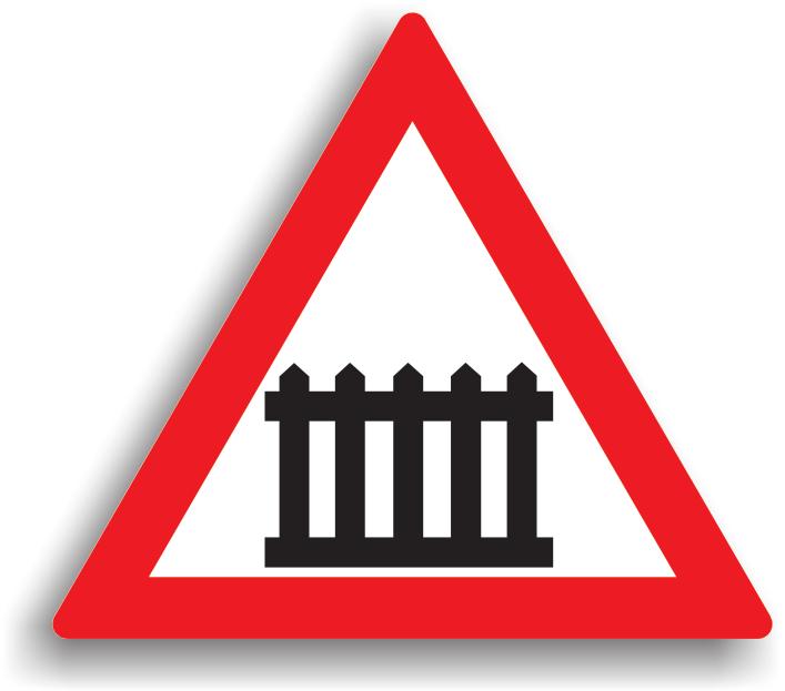Se amplaseaza la 50 m (in localitate)/ 150 m (in afara localitatilor) inainte de trecerea la nivel cu o cale ferata cu bariere sau semibariere. Conducatorul auto este obligat sa reduca viteza la intalnirea acestui indicator (la mai putin de 50 m). In localitate, amplasarea indicatorului se va face pe acelasi stalp cu panoul suplimentar cu o dunga rosie oblica, iar in afara localitatii pe panoul suplimentar cu trei dungi rosii oblice.