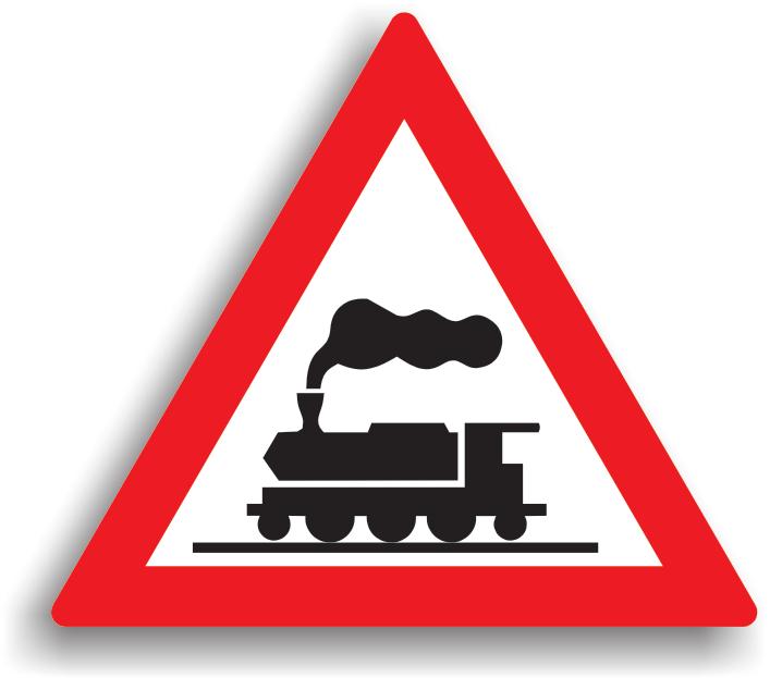 Se amplaseaza la 50 m (in localitate) / 150 m (in afara localitatilor) inainte de trecerea la nivel cu o cale ferata fara bariere. La intalnirea acestui indicator, conducatorul auto este obligat sa opreasca pentru a se asigura, inainte de a traversa calea ferata.