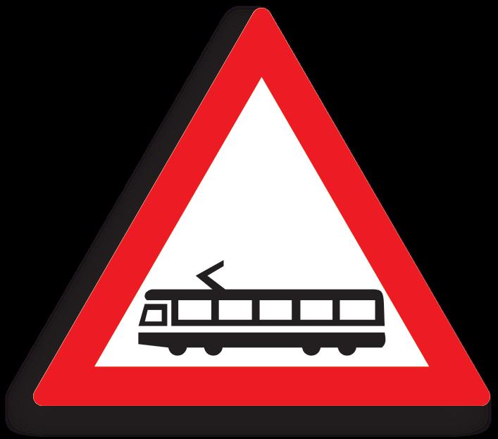 Se amplaseaza cu 50-200 m inaintea intersectiilor in care tramvaiele urmeaza sa vireze la dreapta ori la stanga. La intalnirea acestui indicator, conducatorul auto este obligat sa reduca viteza si sa acorde prioritate tramvaiului.